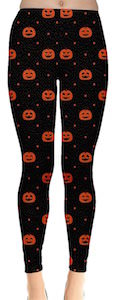 Women's Black Leggings With Pumpkins