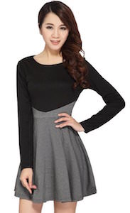 women's Black And Grey Long Sleeve Dress