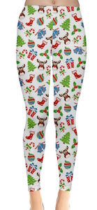 White Christmas Pattern Leggings