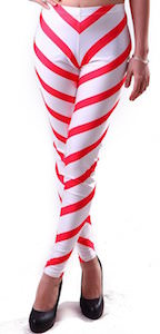 White And Red Stripe Leggings
