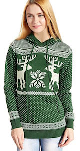 Women's Green Christmas Sweater Hoodie