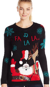 Reindeer And Santa Singing Women's Ugly Christmas Sweater