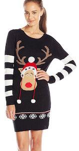 Women's Black Reindeer Christmas Sweater Dress