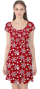women's Red Winter Pattern Christmas Dress