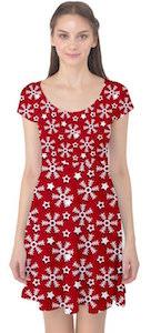 women's Red Winter Pattern Christmas Dress