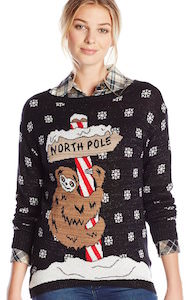women's North Pole Sloth ugly Christmas Sweater