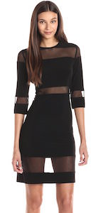 Women's Black Dress With Mesh Inserts