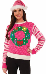 Light Up Christmas Wreath Sweater
