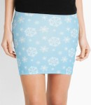 Women's Light Blue Snowflake Skirt