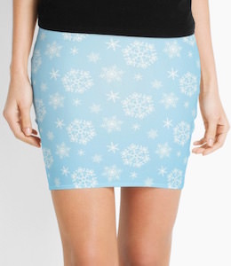 Light Blue Snowflake Skirt