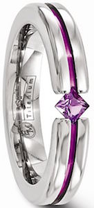 Edward Mirell Titanium Ring With Purple Gemstone