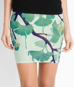 Women's Pencil Skirt With Ginkgo Leaves