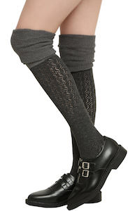 Two Tone Grey Over The Knee Socks