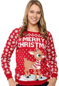 Women's Merry Christmas Rudolph Christmas Sweater