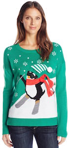 Women's Skiing Penguin Christmas Sweater