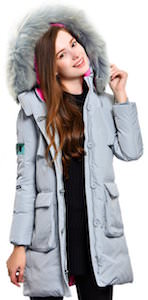 Women's Light Blue Down Winter Coat