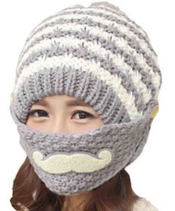 Winter Hat With Mustache Mask