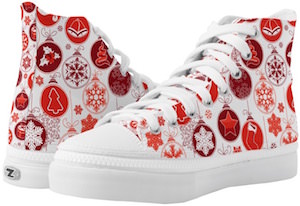 Red Christmas Ornament High Top Shoes