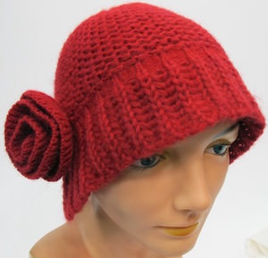 Women's Red Winter Hat With Flower