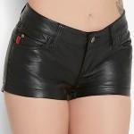 Women's Black Faux Leather Shorts