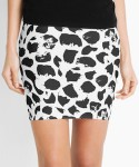 Black And White Leopard Print Pencil Skirt