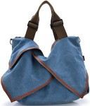 Blue Canvas Shoulder Handbag