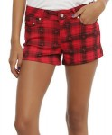 Red Plaid Women's Shorts With Skulls