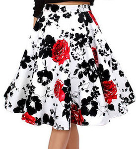 Black Flowers And Red Roses Skirt