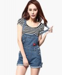 Denim Dungaree Overall Shorts