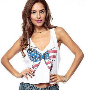Stars And Stripes US Flag Bow Tank Top