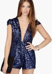 Navy Blue Sequin Romper
