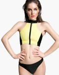 Yellow And Black Women's Bikini Set With Zipper