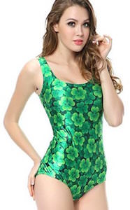 Green Clover One Piece Bathing Suit