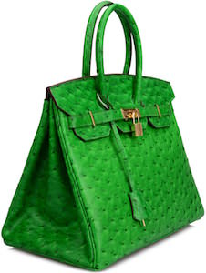 Ostrich Embossed Leather Handbag