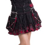 Punk Style Red Or Purple Plaid Skirt
