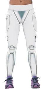 Women's White Robot Style Leggings