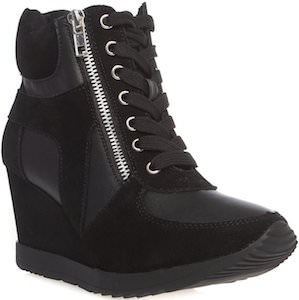 Black Hidden Wedge High Heel Sneakers