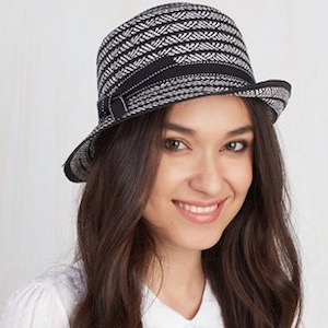 Black And White Straw Cloche Hat