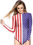 American Star And Stripes Flag Long Sleeve Swimsuit For Women