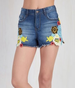 Denim Floral Shorts