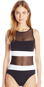 High Neck Line Mesh Bathing Suit