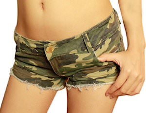 Women's Low Waist Denim Camouflage Shorts