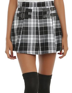 Black And White Plaid Skirt With Buckles