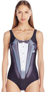 Women's One Piece Swimsuit That Looks Like A Tuxedo