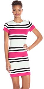 French Connection Pink, Black, And White Striped Dress
