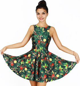 Women's Christmas Tree Print Skater Dress