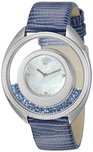 Women's Blue Versace Watch With Floating Pearls