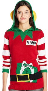 Women's Elf#1 Christmas Sweater With Hood