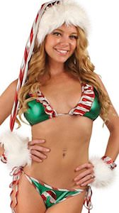 Green And Candy Cane Christmas Bikini Set