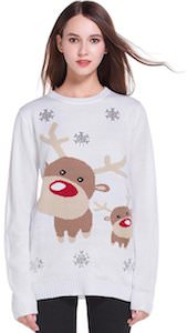 Women's Two Reindeer White Christmas Sweater